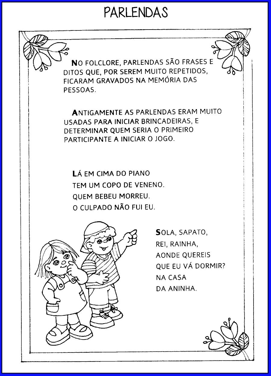 Textos Sobre Parlendas Para Imprimir Só Escola