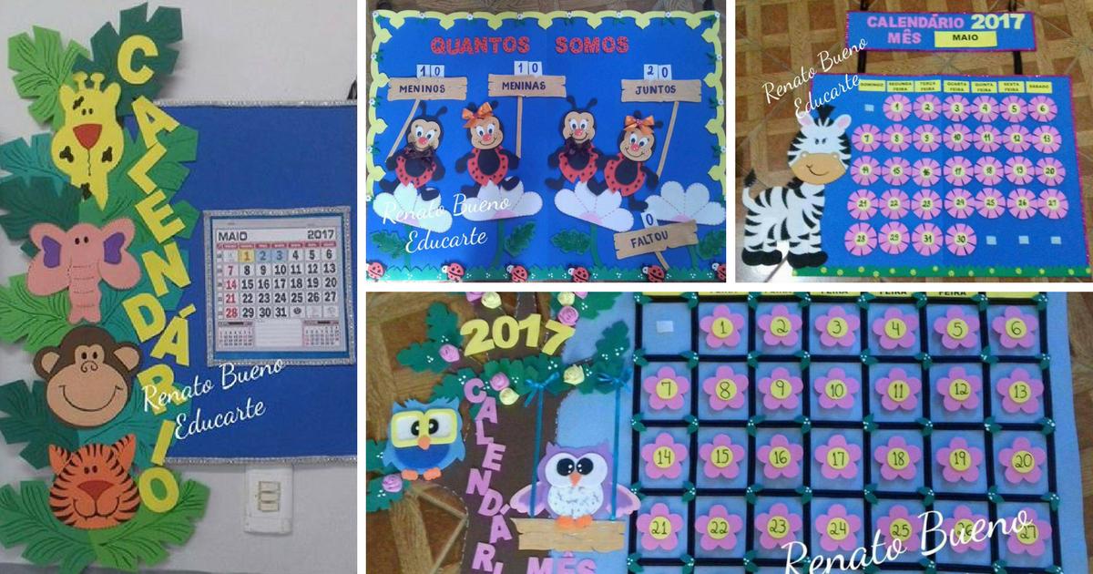 Ideias de cartazes escolares: Painéis de Calendário, Aniversários, Tempo