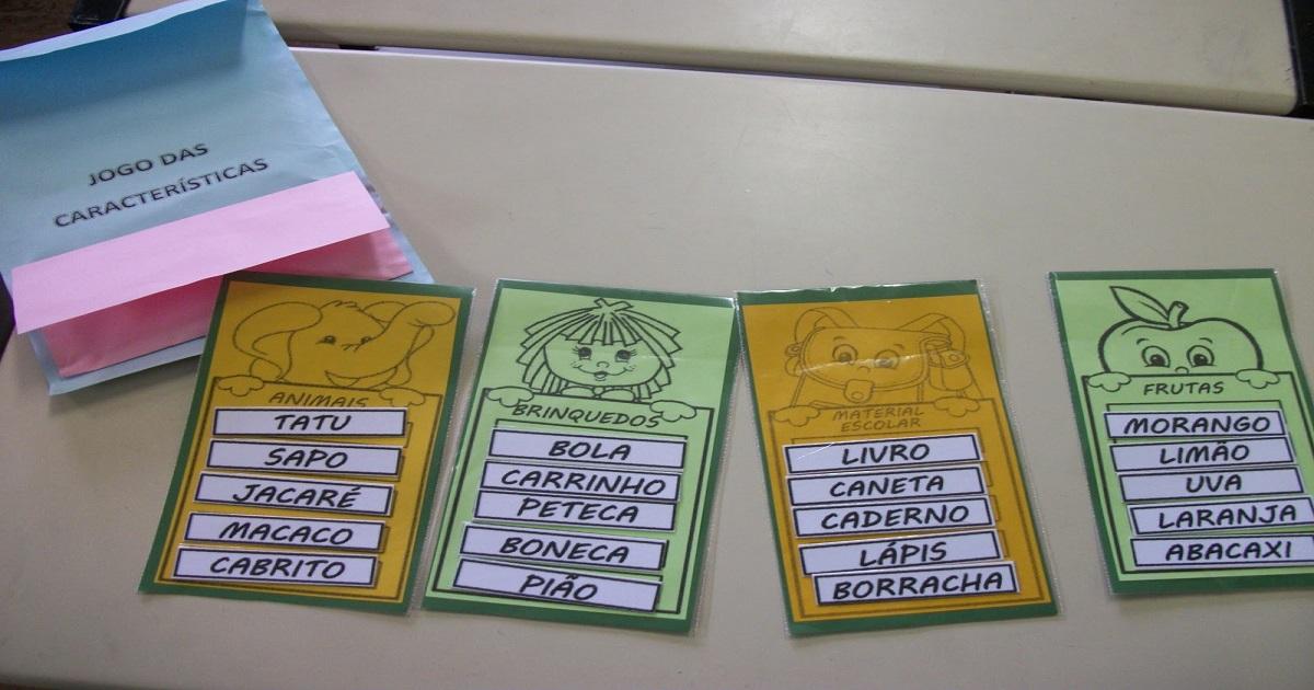 Jogo das Características para trabalhar alfabetização de forma lúdica.