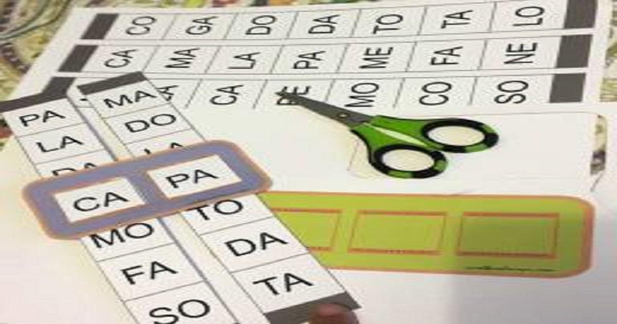 Jogo monta sílabas: recortar e formar palavras