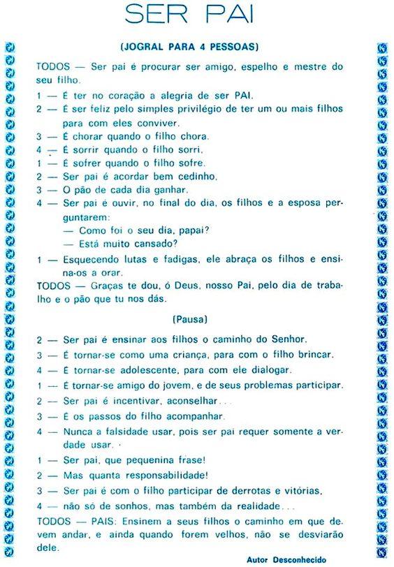 Sugestões de jogral para o dia dos pais para imprimir