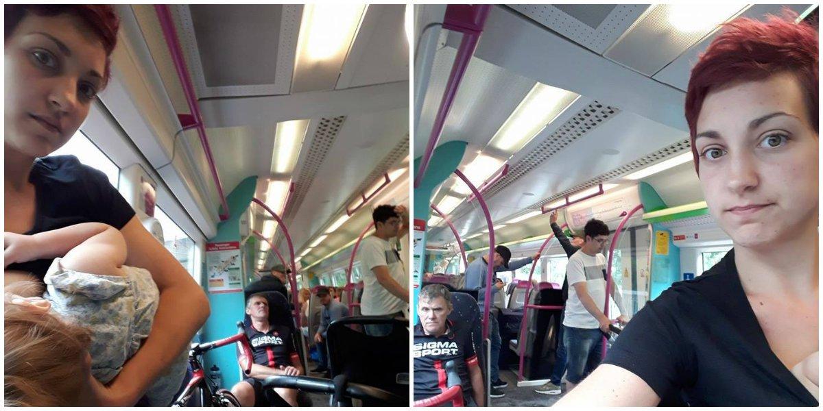 Depois de ninguém lhe ceder lugar, mãe amamenta em pé no trem