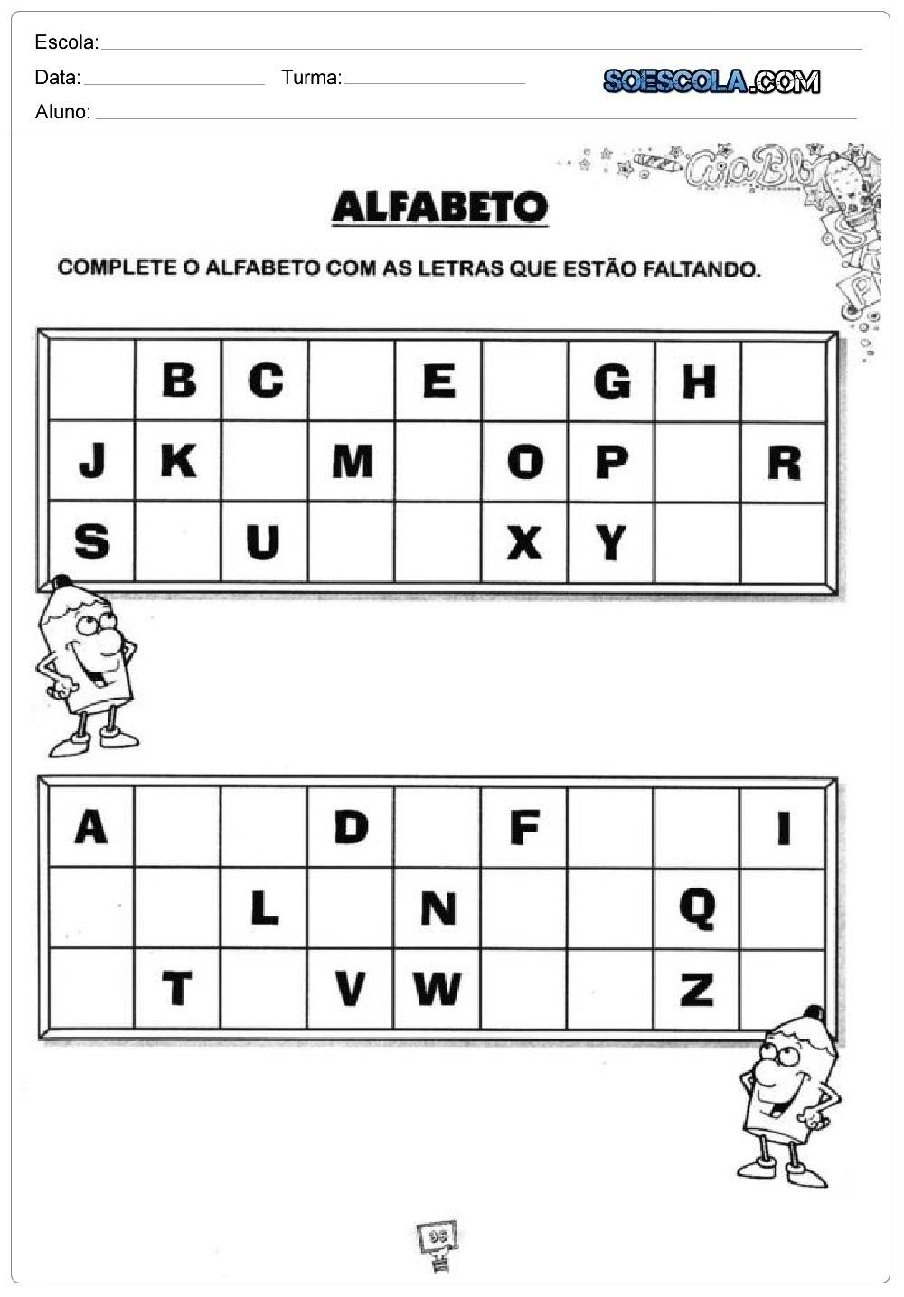 Ordem Alfabética - Atividades educativas de português - Para Imprimir