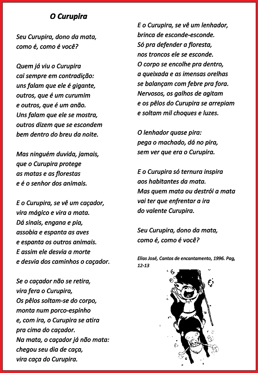 Poemas sobre Folclore prontos para imprimir: Curupira