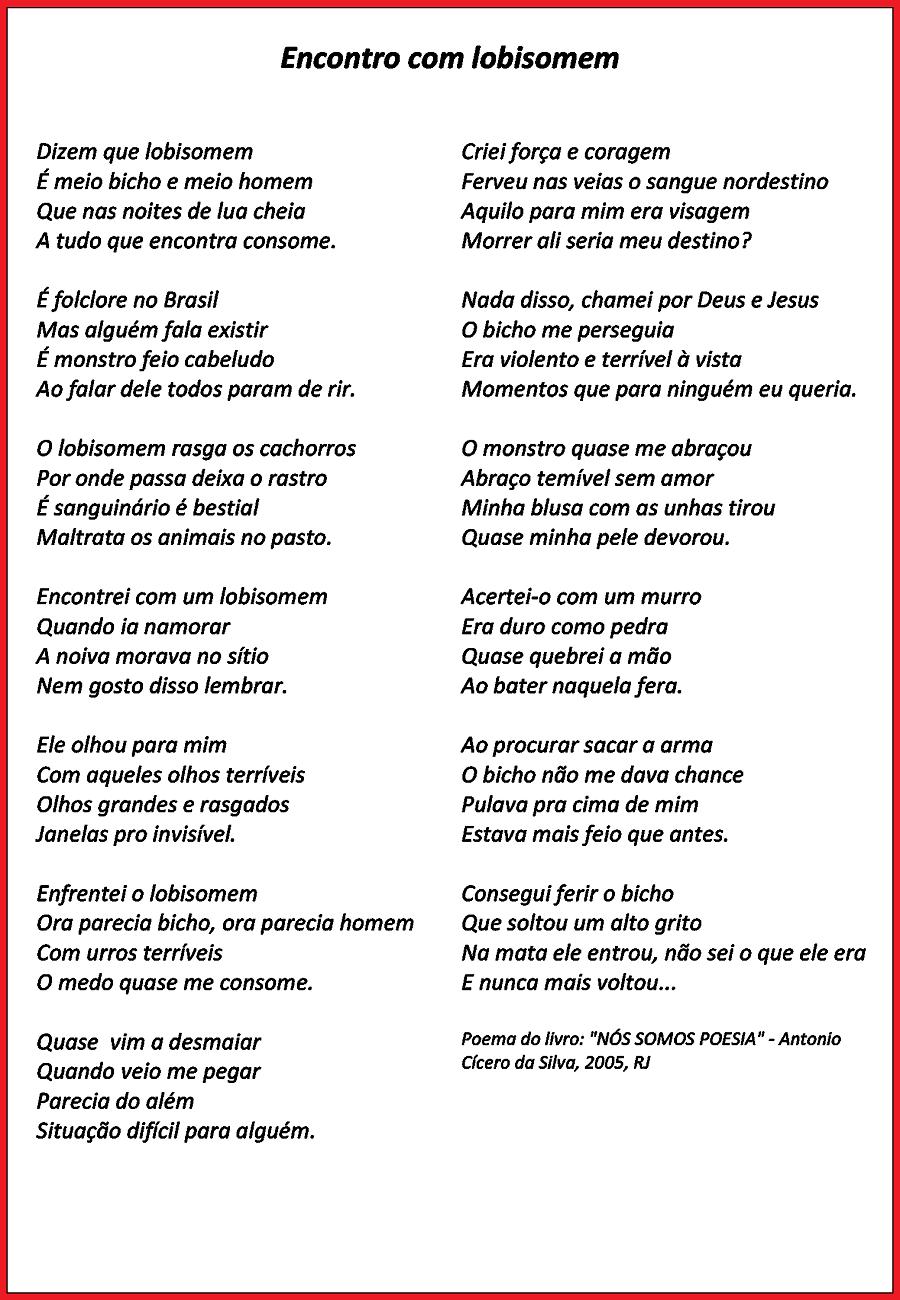 Poemas sobre Folclore prontos para imprimir: Lobisomem