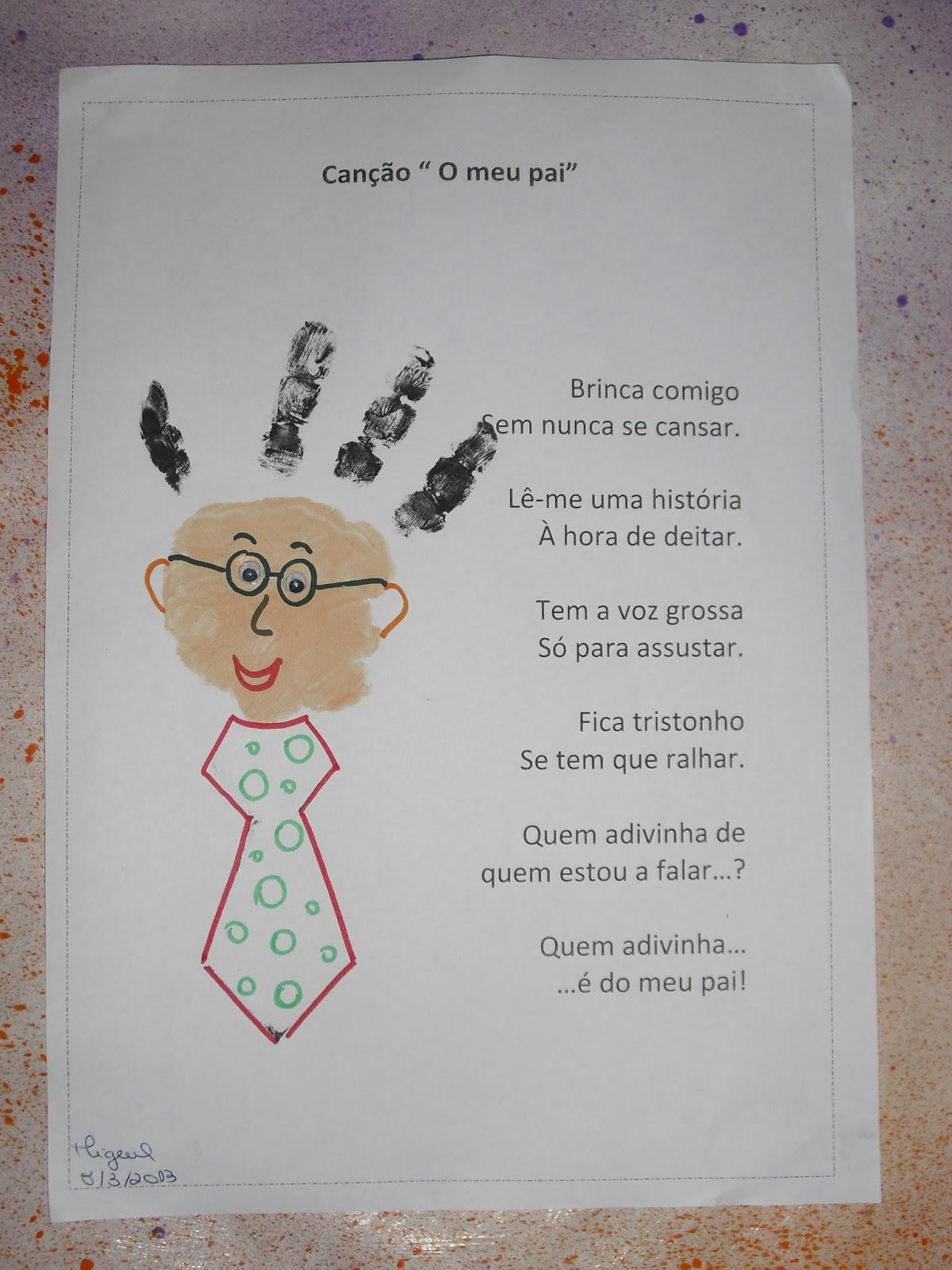 Lembrancinha com Poema para o Dia dos Pais: Impressão da Mão.
