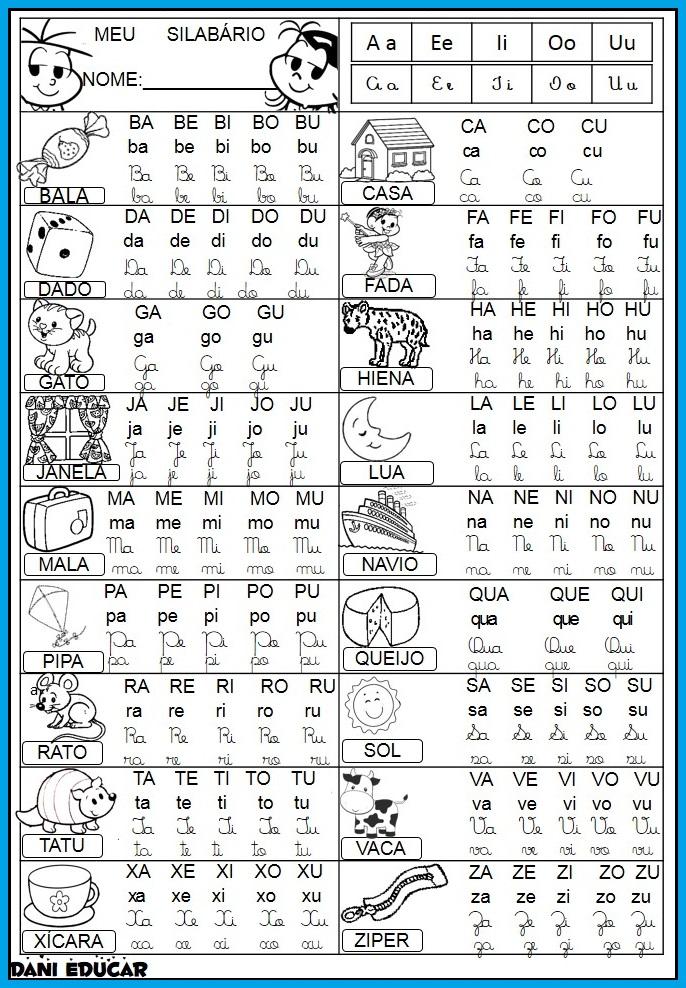 Silabário Simples para imprimir: Fichas de Leitura