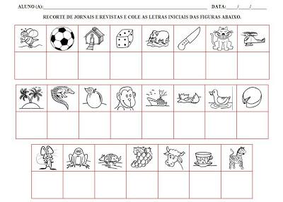 Sugestões de atividades para nível da escrita pré silábico
