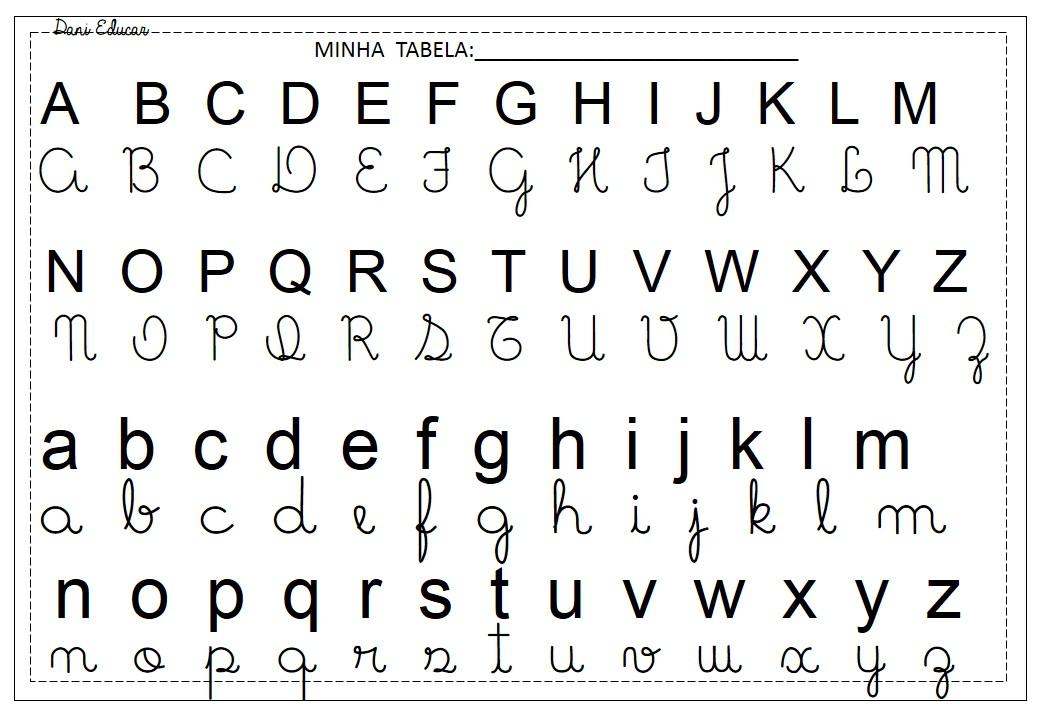 Tabela do Alfabeto para imprimir com letras Maiúsculas e Minusculas