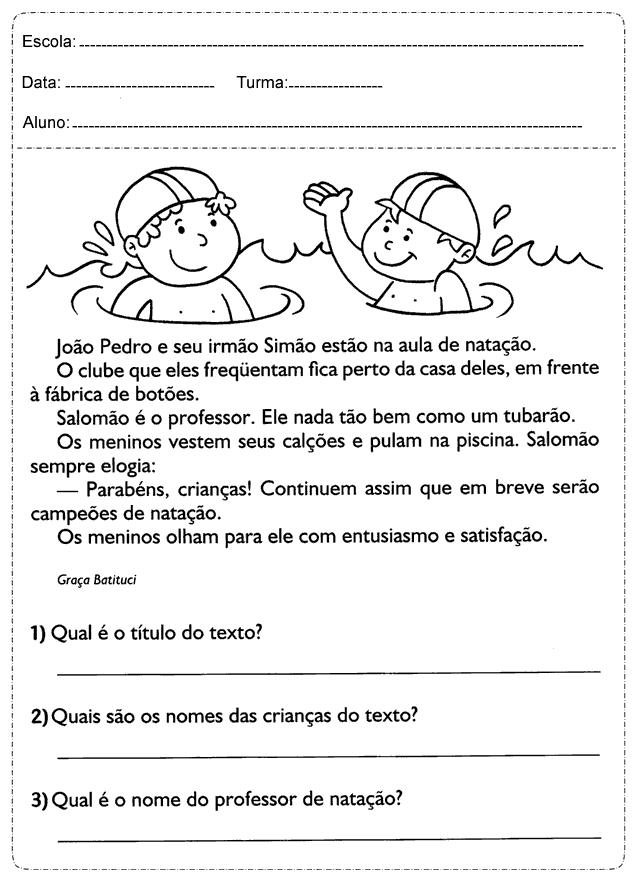 Texto Natação: Atividades de interpretação para 3º Ano