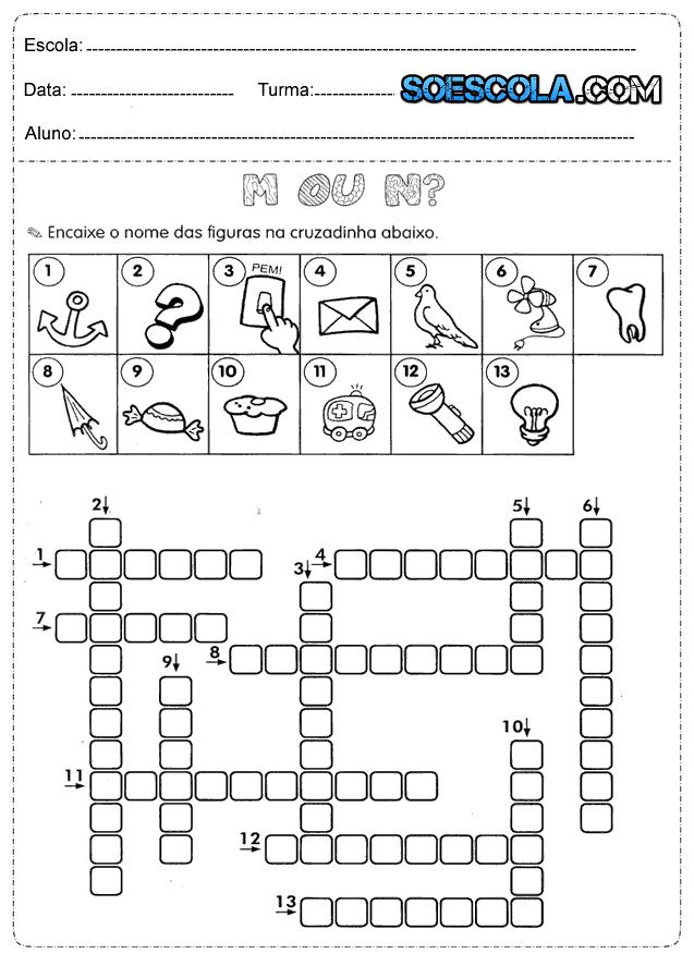 Atividades de ortografia com M ou N para imprimir