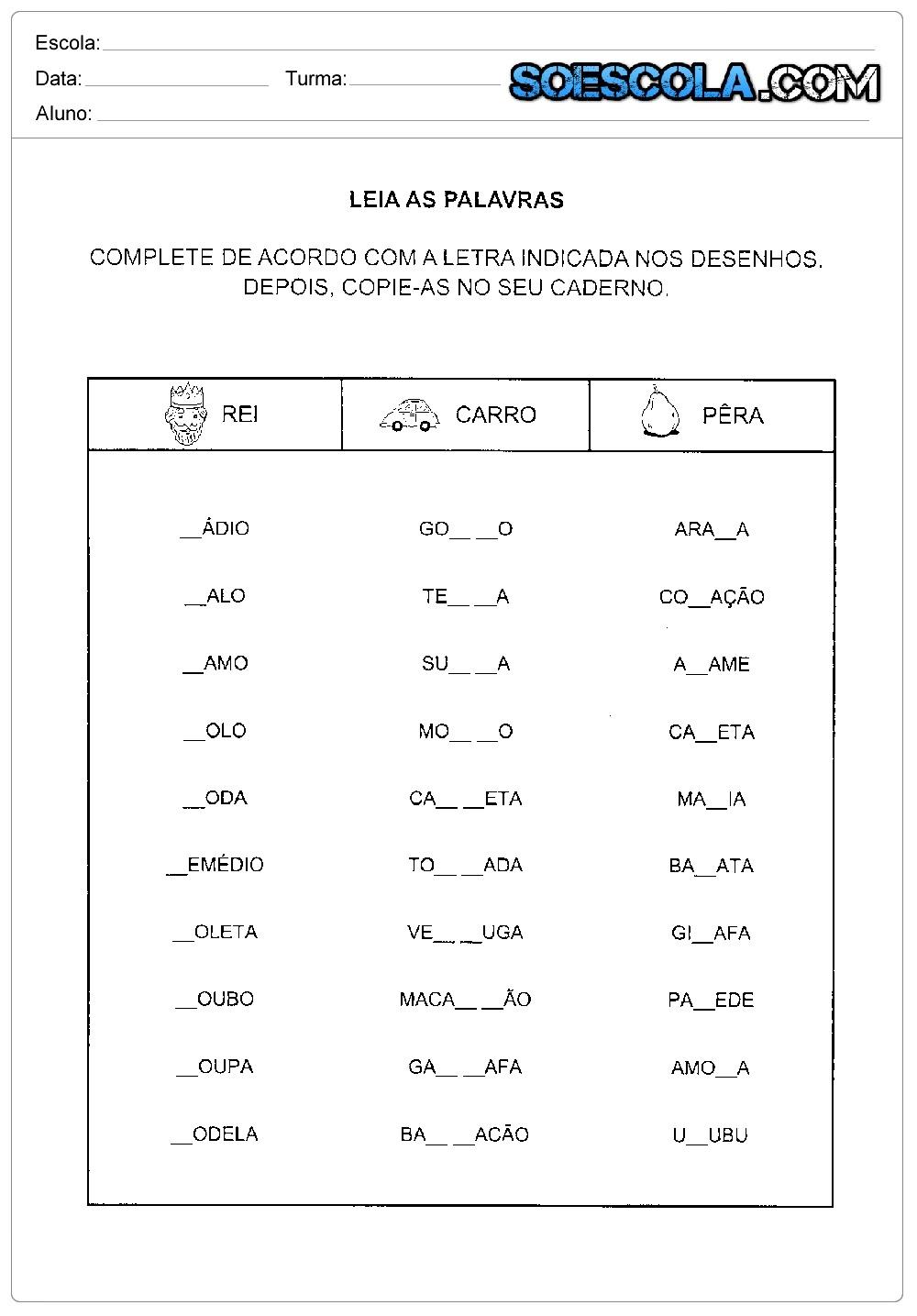 Atividades de ortografia com R e RR: Leia as palavras