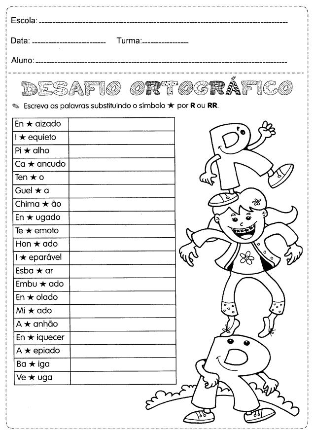 Atividades de ortografia com R e RR: Exercícios de Português para imprimir.