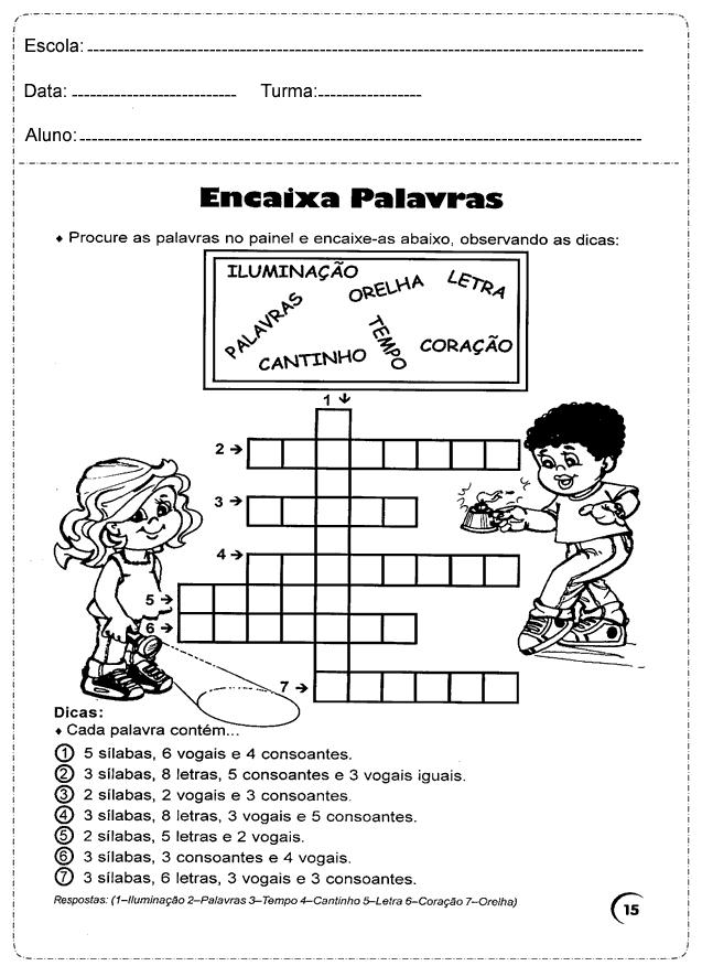 Atividades de Português encaixa palavras para series iniciais.