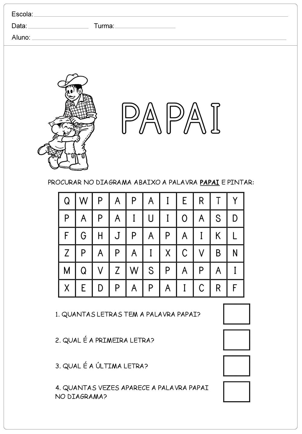 AtividadeCaça Palavras para o Dia dos Pais - Para Imprimir