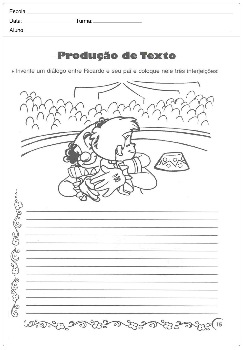 Produção de Texto para o Dia dos Pais para imprimir