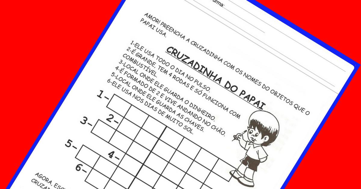 Cruzadinha para o Dia dos Pais: Atividade para imprimir
