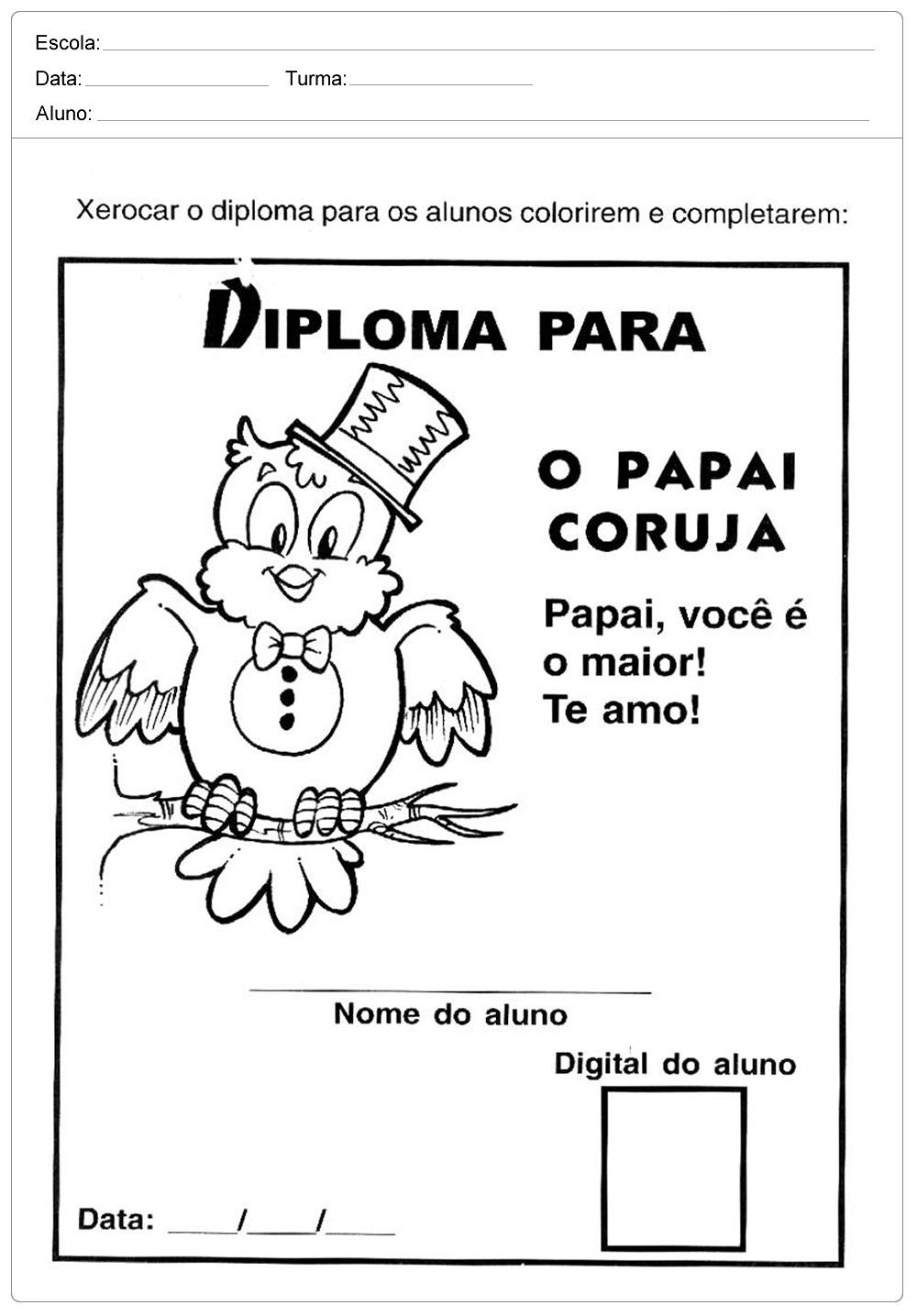 Diploma o Papai Coruja para o Dia dos Pais para imprimir