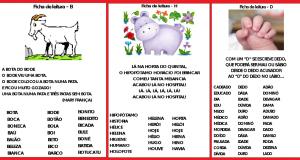Fichas de leitura com todas as letras do alfabeto