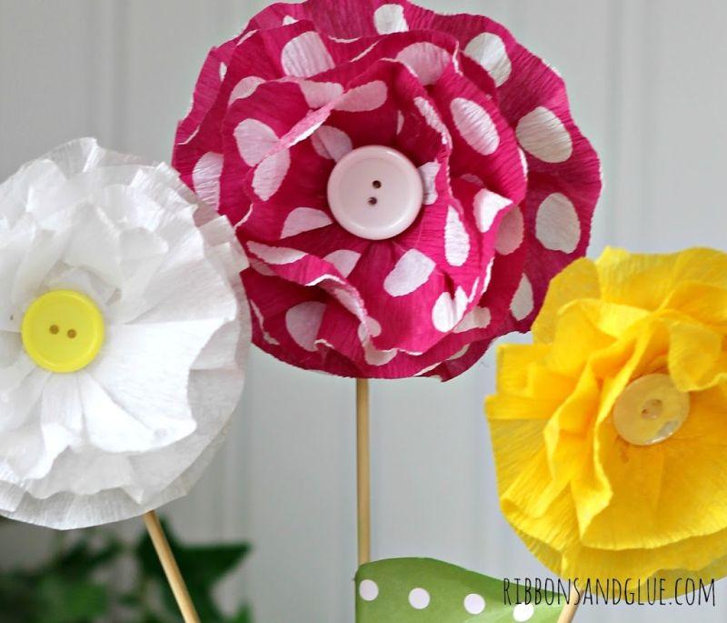Ideias de Flores de papel crepom com passo a passo