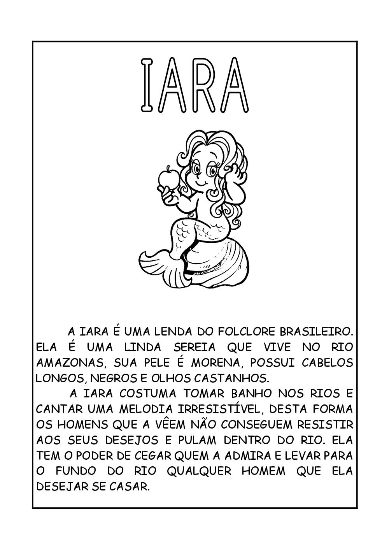 Lendas do Folclore - Textos com desenhos para imprimir