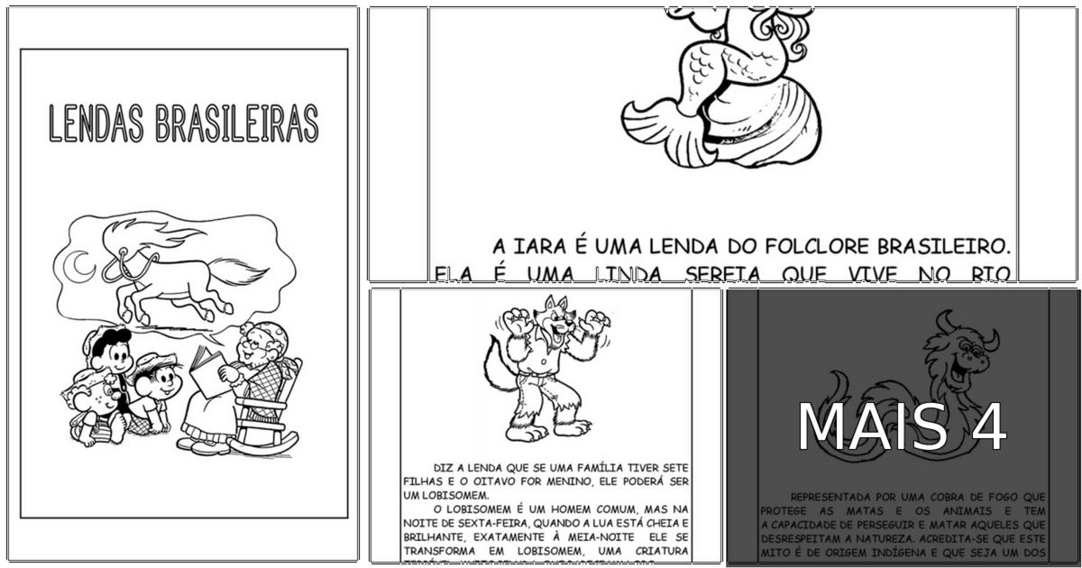 Lendas do Folclore - Textos com desenhos para imprimir: O Saci-Pererê, o Curupira, o Boitatá, o Boto Cor de Rosa, a Mula-Sem-Cabeça, e muitos outros personagens, por exemplo, tornam o folclore do Brasil único!