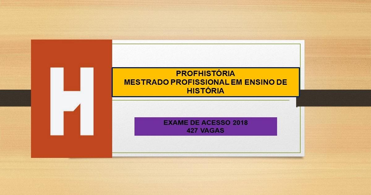 Mestrado Profissional em Ensino de História para 2018