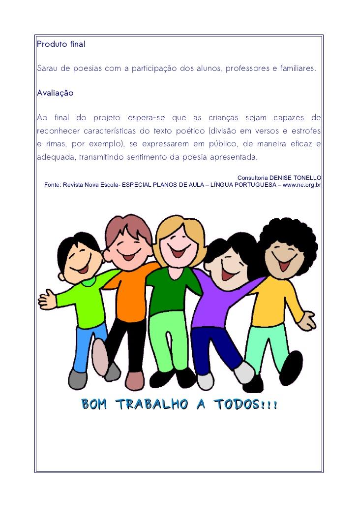 Projeto Didático Poesia: Escuta, leitura e produção oral.