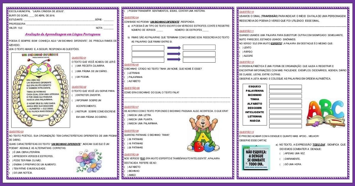 Prova de Língua Portuguesa para 3º ano