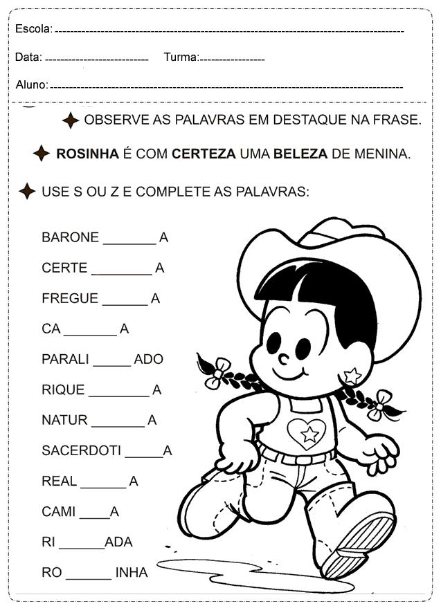 Use o S ou Z e complete as palavras: Atividade Educativas de Português