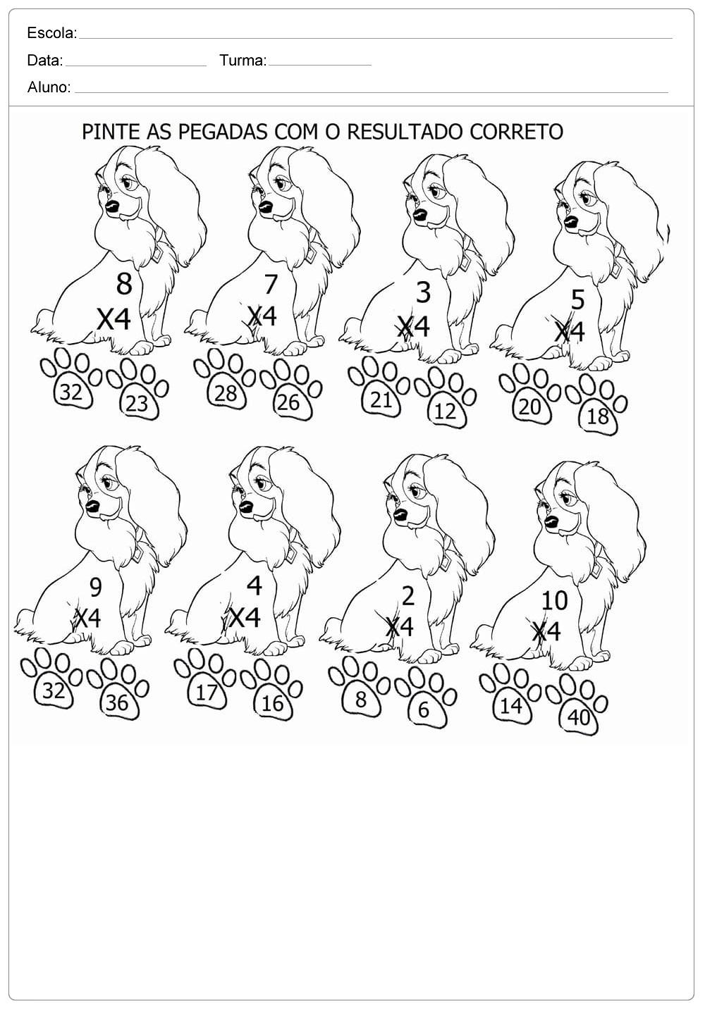 Atividades divertidas de Multiplicação: Pinte o Resultado correto.