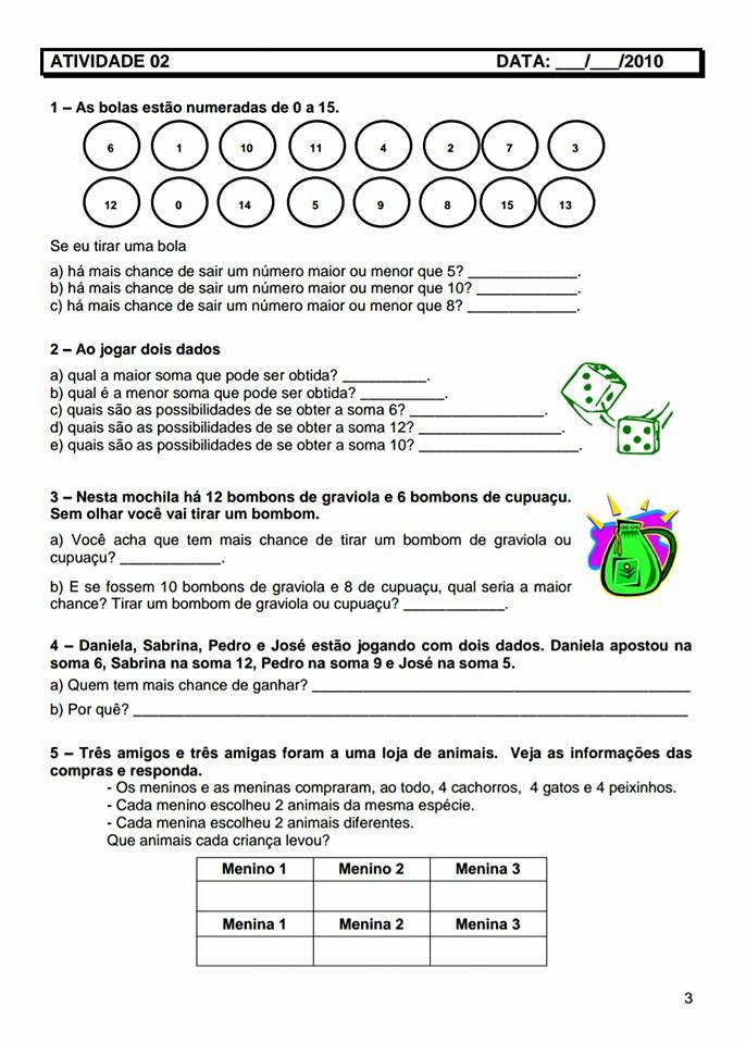 Caderno de Atividades de Matemática para 5 ano para imprimir.
