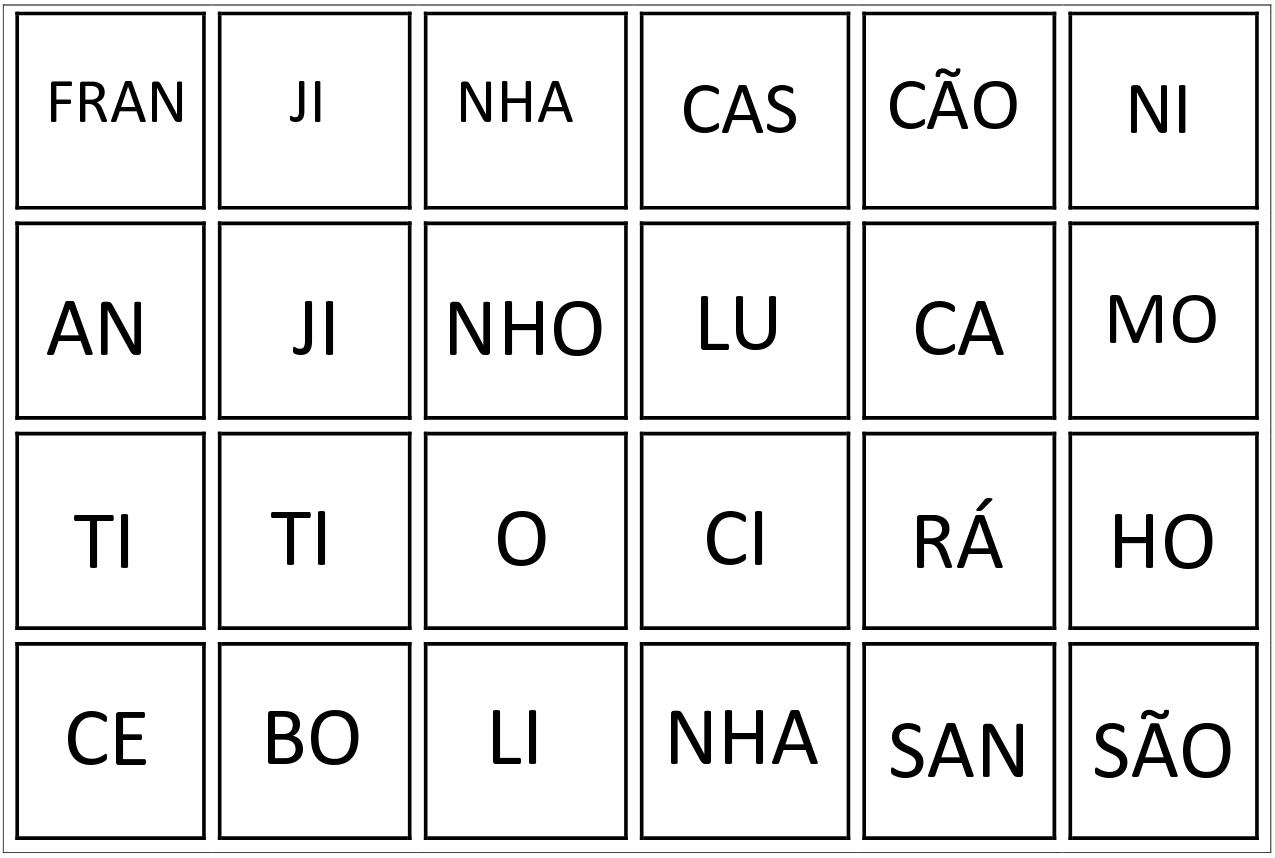 Jogo das Sílabas iniciais: Trabalhar formação das sílabas