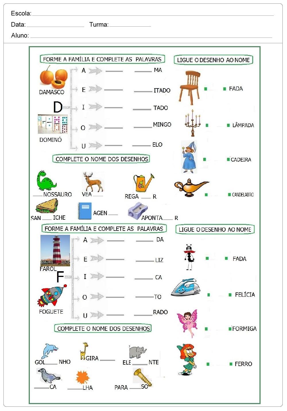 Atividades para alfabetização - Para Imprimir - Para series iniciais.