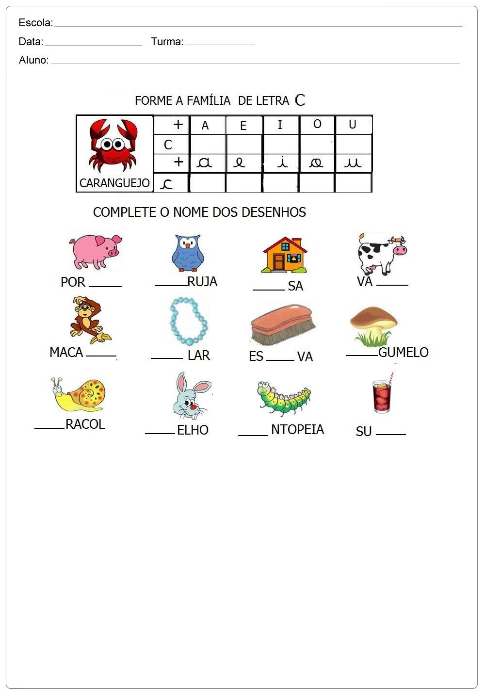 Atividade com as letra B C e D para imprimir - Alfabetização Inicial.