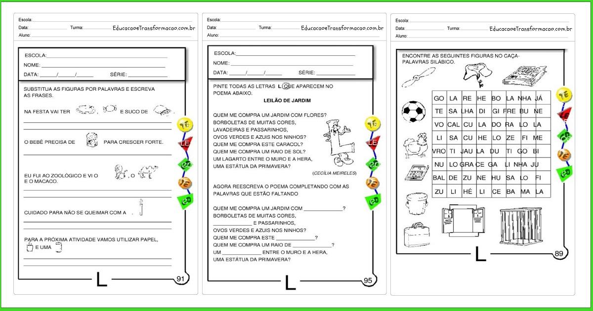 Atividades com a Letra L para alfabetização - Para imprimir