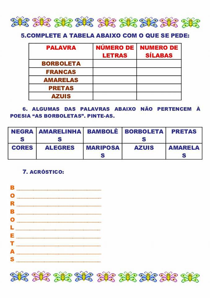 Atividades com o poema As borboletas de Vinícius de Moraes para imprimir.