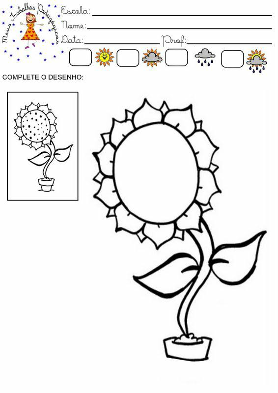 Atividades Com Tematica Primavera Complete Desenhos Flor E Colorir