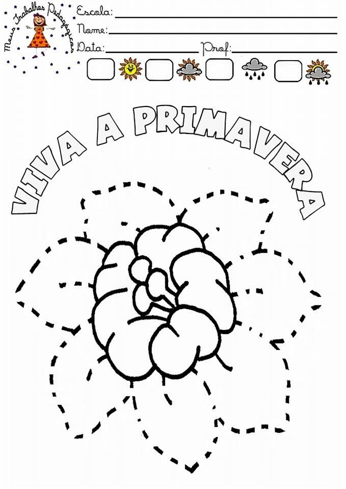 Atividades Com Tematica Primavera Flor Pontilhada Colorir Desenho