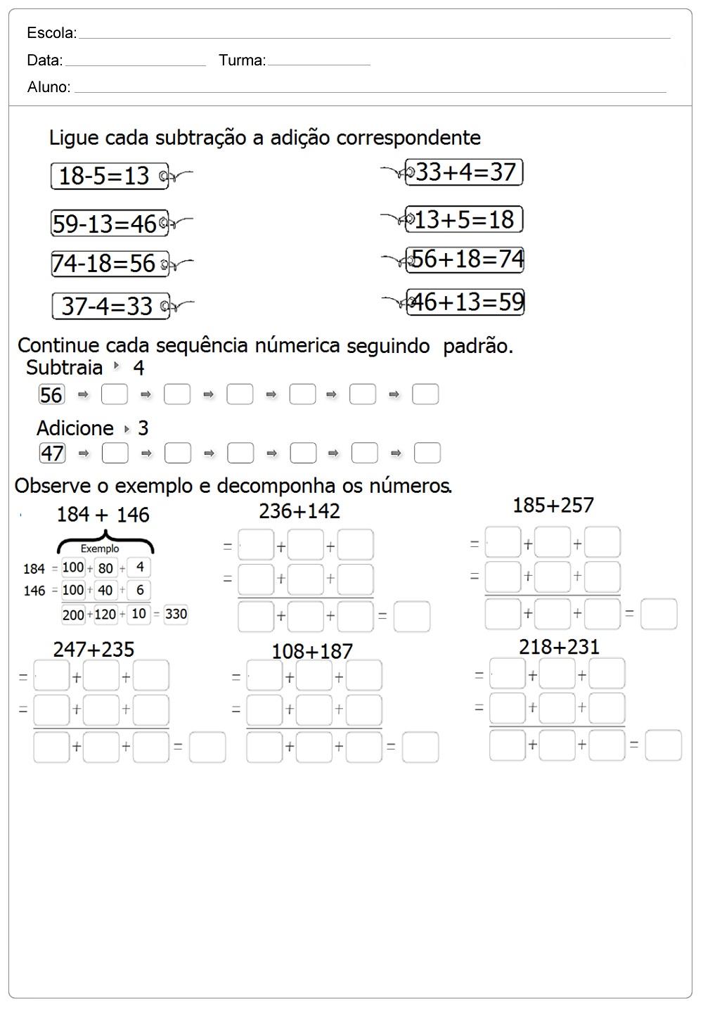 Atividades de Matemática imprimir - Series Inicias