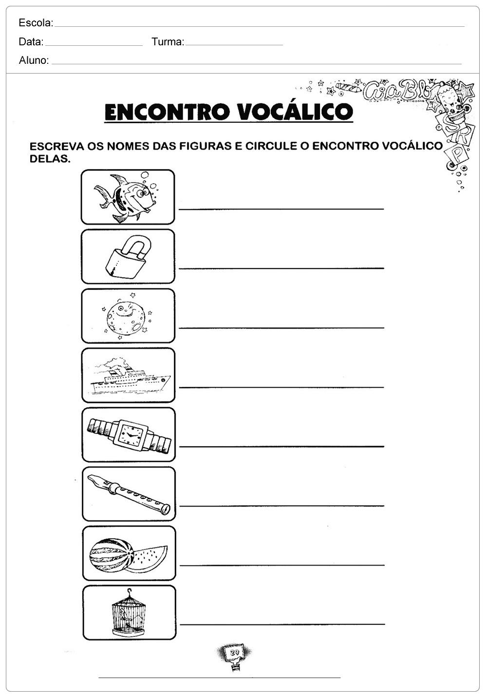 Atividades sobre Encontro Vocálicos para imprimir.