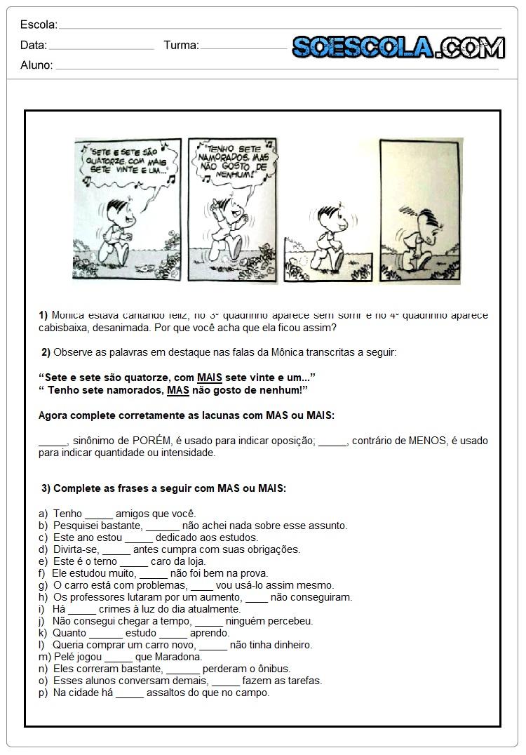 Atividades de Português sobre o uso do Mas ou Mais