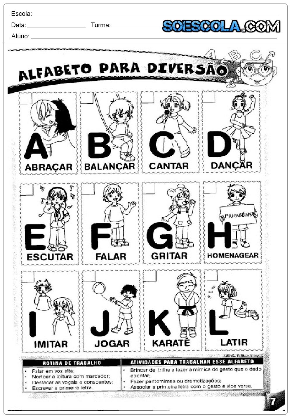 Atividades Educativas sobre Alfabeto Diversão