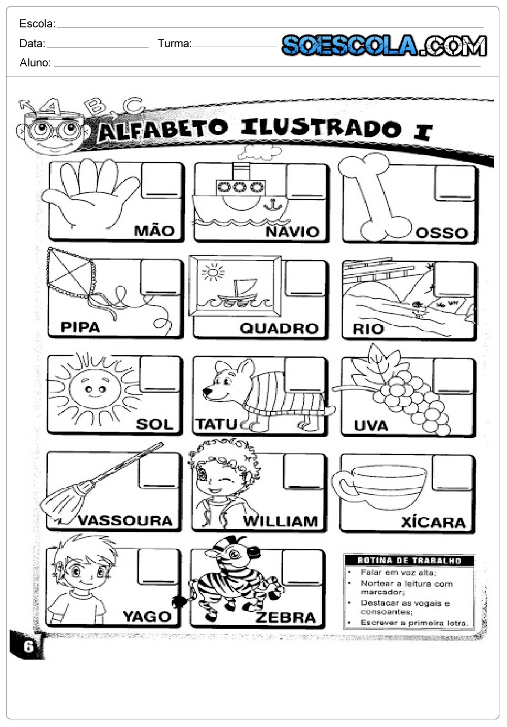 Atividades Educativas sobre Alfabeto ilustrado