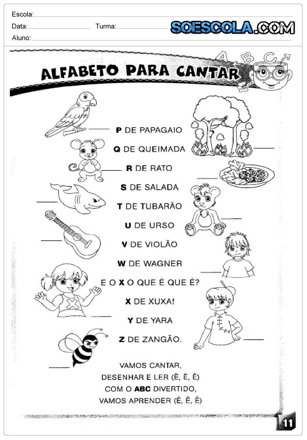 Atividades Educativas sobre Alfabeto: para cantar