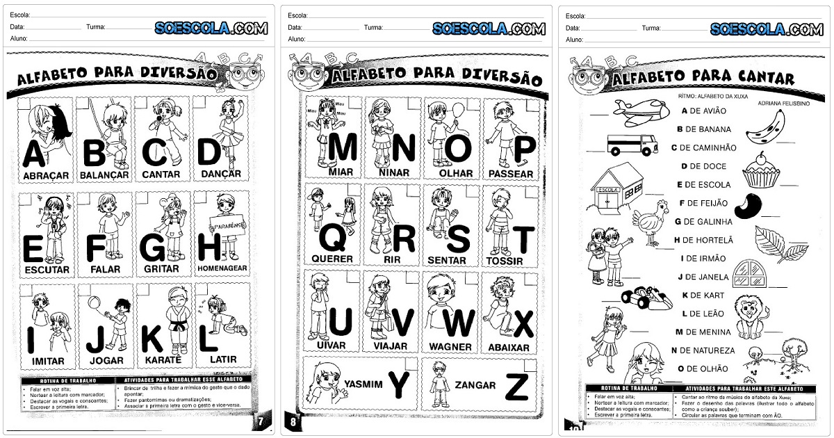 Famosos Arquivos Atividades de Alfabeto — SÓ ESCOLA SK45