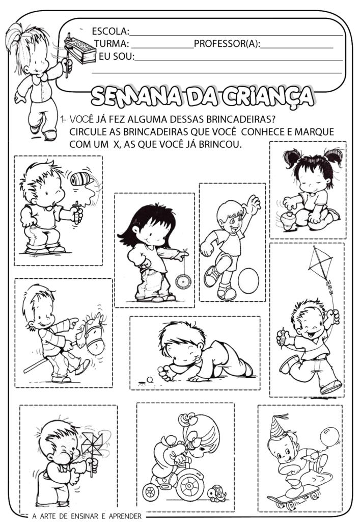 Atividades para o dia das crianças - 12 de Outubro - Baixe em PDF.