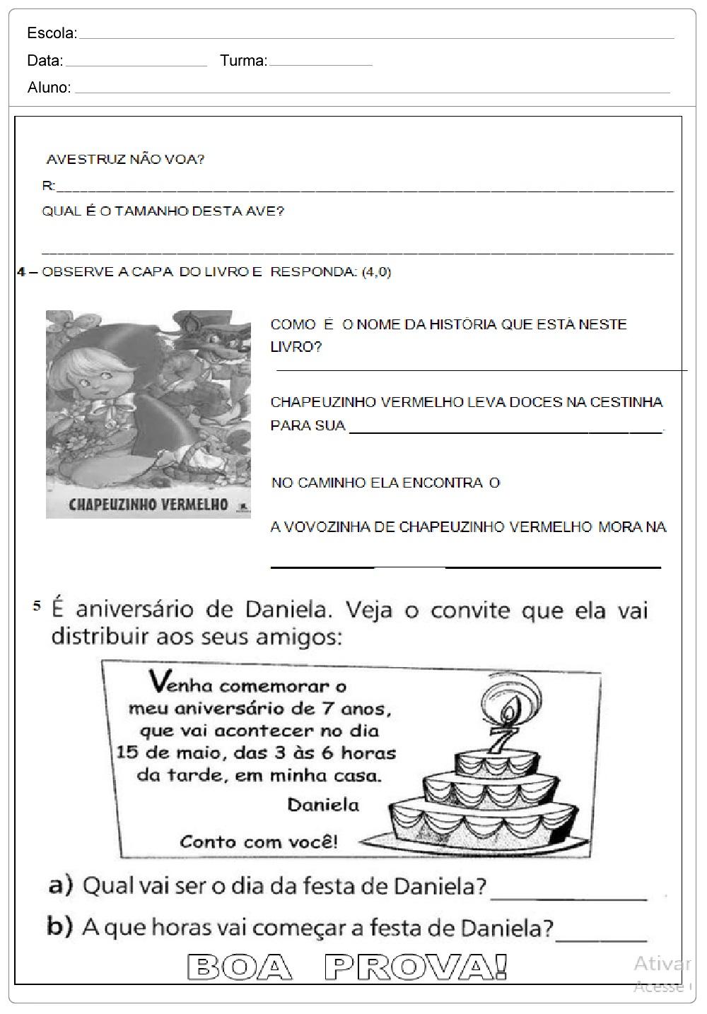 Avaliação de Bimestral de Português para 2º ano para imprimir.