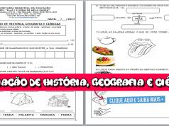 Avaliação de História, Geografia e Ciências - 1º Ano para imprimir.
