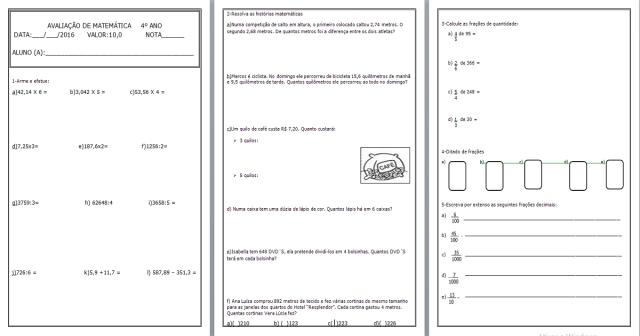 Avaliação de matemática para 4 ano: Operações de Números Decimais e Naturais, Desafios e Frações